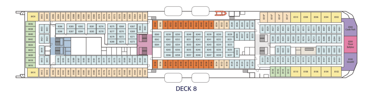 Layout plan of Deck 8 onboard Irish Ferries' W.B. YEATS. © Irish Ferries.