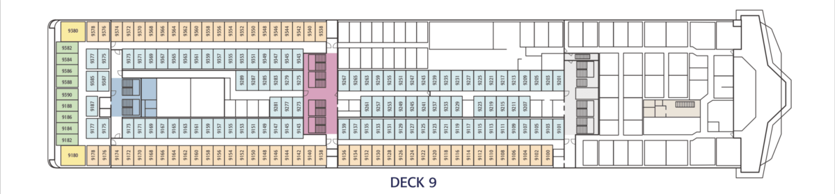 Layout plan of Deck9 onboard Irish Ferries' W.B. YEATS. © Irish Ferries.