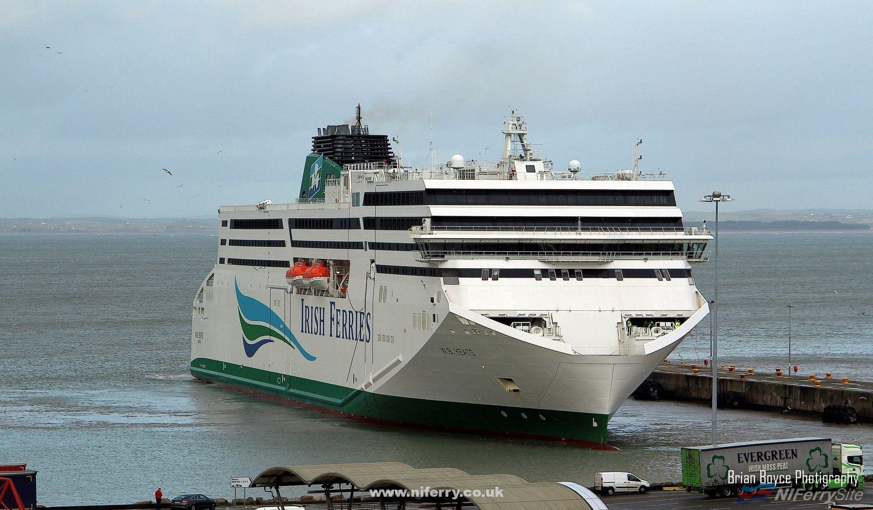 Irish Ferries W. B. YEATS arrives in Rosslare for the first time on 19th December 2018 for berthing trials. Copyright © Brian Boyce.