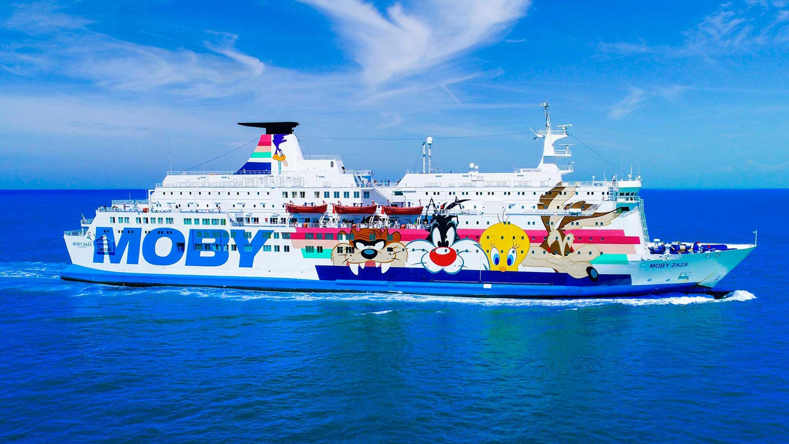 Moby Lines MOBY ZAZA currently serves the Nice to Bastia route which Moby Lines are to close in early 2019. She is perhaps better known in the UK and Ireland as the former OLAU BRITANNIA (i) of Olau and JULIA of Swansea - Cork operator Fastnet Line. Moby Lines.