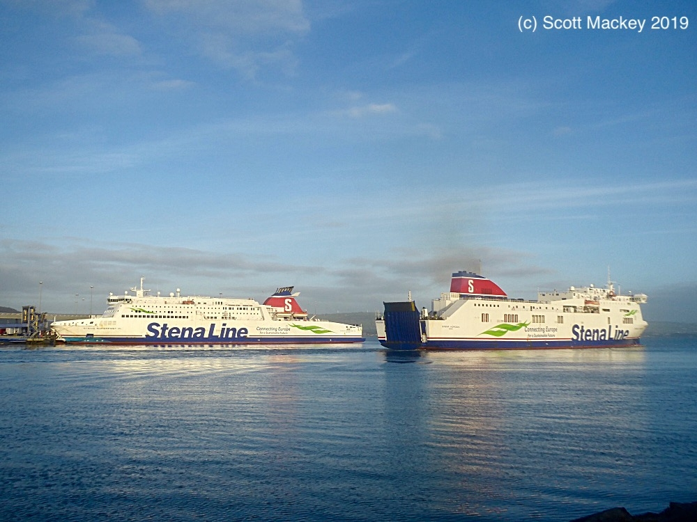 STENA HORIZON passes fleet-mate STENA SUPERFAST VII outbound to Birkenhead on the morning of New Years Day 2019 while providing dry dock cover for STENA LAGAN. Copyright © Scott Mackey.