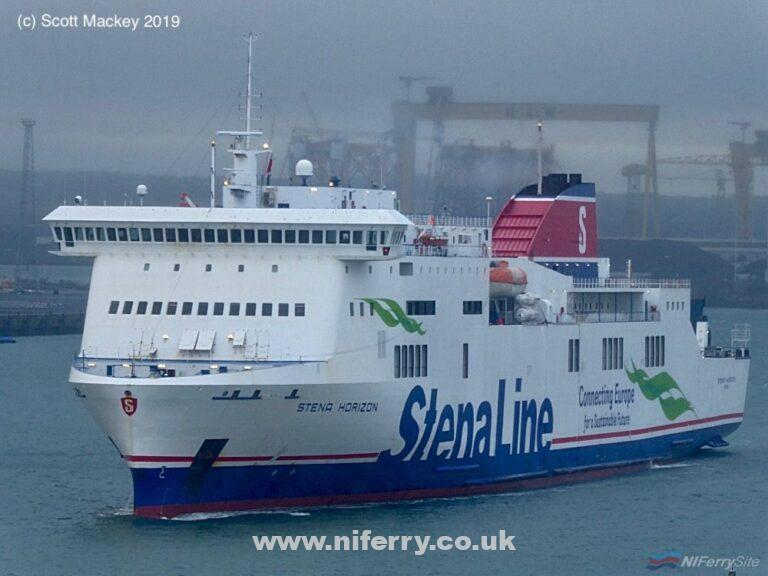 STENA HORIZON leaves Belfast on her final crossing to Birkenhead as 2019 refit relief vessel for STENA LAGAN and STENA MERSEY, 25.01.19. Copyright © Scott Mackey.