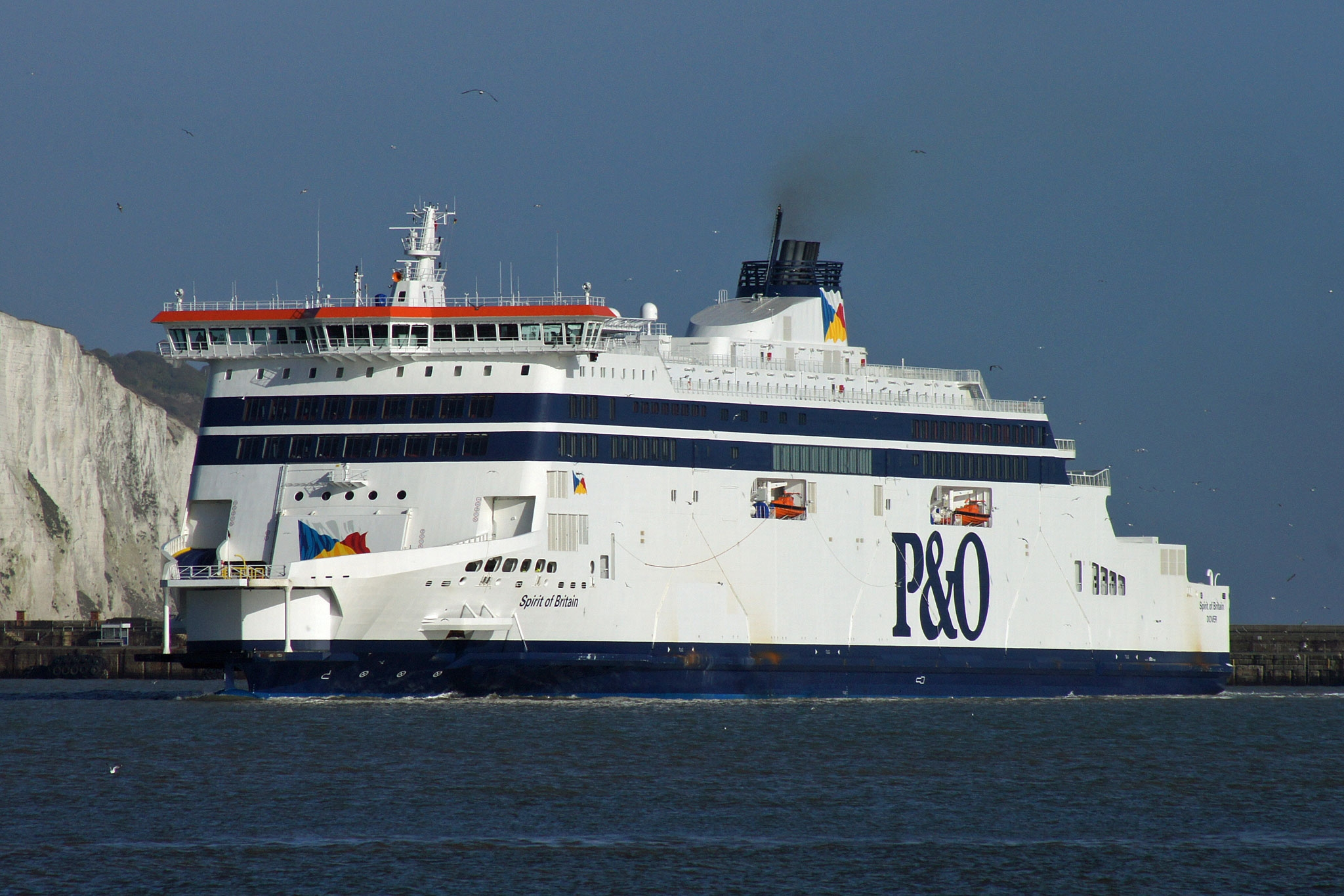 P&O Ferries flagship SPIRIT OF BRITAIN arriving at Dover on February 3rd 2011. Copyright © Ian Boyle.