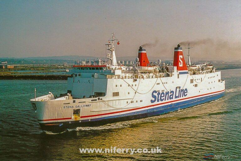 'Ferrycards' postcard of STENA GALLOWAY leaving Belfast in Stena Line colours. Copyright © Gordon Hislip