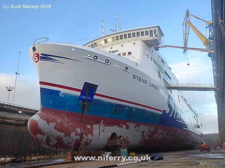 STENA LAGAN pictured in dry dock prior to painting 17.01.19. Copyright © Scott Mackey.