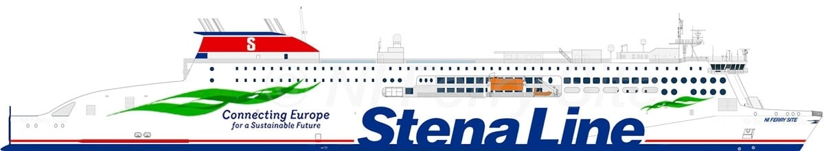 Side profile of how the first Stena E-Flexer MIGHT look based on renders and yard photographs. Note this is NOT an official image. Copyright © Steven Tarbox