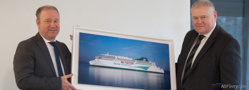"Then FSG CEO Rudiger Fuchs and Irish Ferries Managing Director Andrew Sheen at the handover of <strong>W.B. YEATS</strong>. Flensburger Schiffbau-Gesellschaft."" class=""wp-image-17205″/></a><figcaption>Then FSG CEO Rudiger Fuchs and Irish Ferries Managing Director Andrew Sheen at the handover of <strong>W.B. YEATS</strong>. Flensburger Schiffbau-Gesellschaft.</figcaption></figure> <p>FSG are currently working on <strong>HONFLEUR</strong> and an as-yet-unnamed Ro-Ro for their parent company Siem.  They are also due to deliver the Ro-Ro <strong>MARIA GRAZIA ONORATO</strong> to Siem soon for charter to Italian operator Tirrenia having already delivered sister-ship <strong>ALF POLLAK</strong> which has joined DFDS on sub-charter.  While contractors have reportedly left the site taking their tools and materials with them, some work does still appear to be continuing on the yards current projects with the yard's direct employees still on site. It is not yet known what effect if any these financial difficulties will have on the yards order book which is currently full and currently includes a further Ro-Ro for Siem, another (even larger) Irish Ferries ferry to replace <strong><a href="
