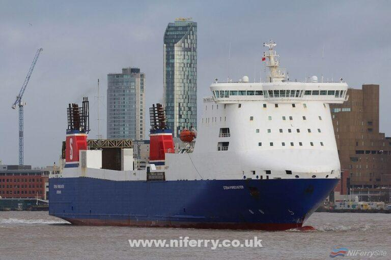 STENA FORECASTER arrives on Merseyside for the first time on February 9th, 2019. Copyright © Das Boot 160 Photography.