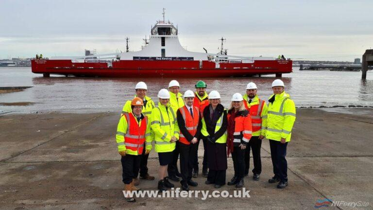 After 1 year of construction on dry land, Red Funnel's new freight ferry RED KESTREL is officially in the water! Cammell Laird.
