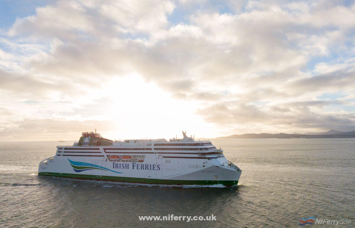 Irish Ferries W.B. YEATS approaches Dublin Port for the first time, Thursday 20th December 2018. Copyright © Irish Ferries.