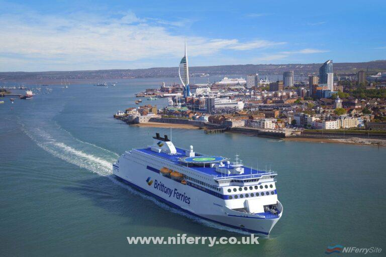 An artists impression of how a Brittany Ferries Stena E-Flexer class ferry might look at Portsmouth. Brittany Ferries