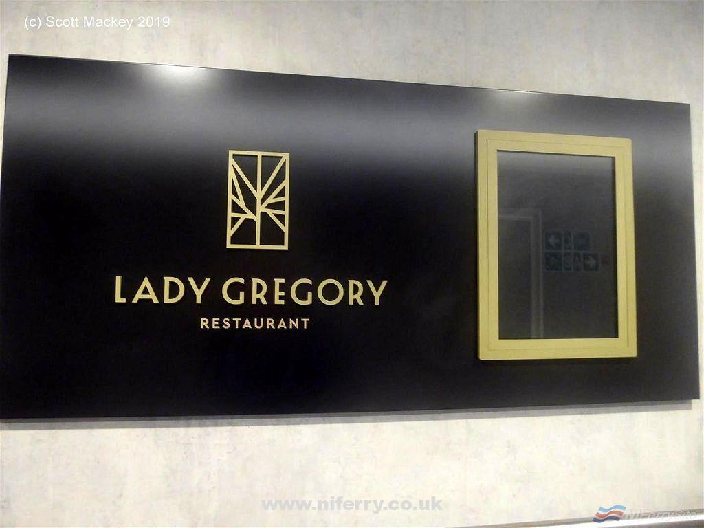 "Sign outside the ""Lady Gregory"" restaurant on Deck 10, W.B. YEATS. Copyright © Scott Mackey."