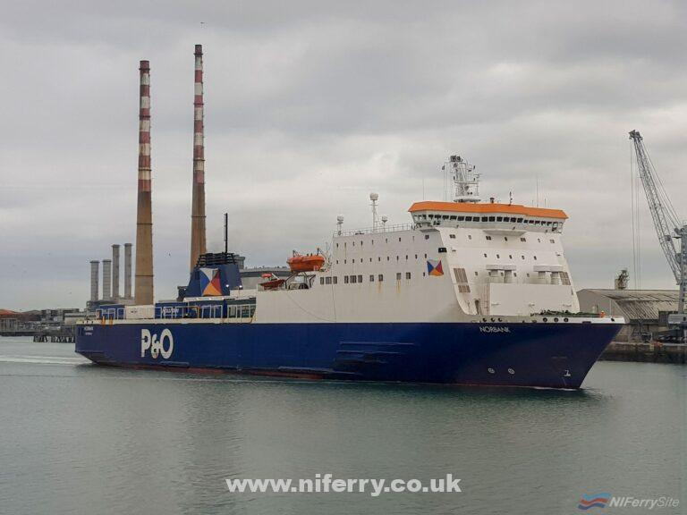 P&O Ferries NORBANK seen arriving in Dublin at the end of September 2018. Copyright © Robbie Cox.