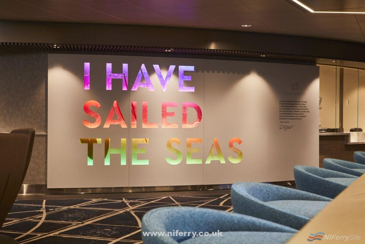 Official Irish Ferries image of the animated William Butler Yeats quote in the reception area on W.B. YEATS. Seen from Boylan's Brasserie. Irish Ferries