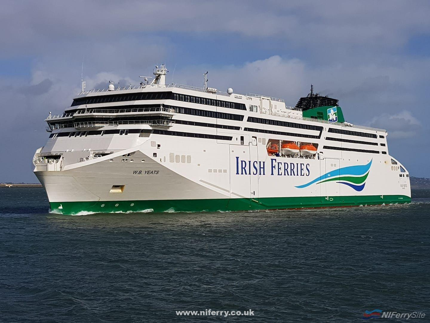 Irish Ferries W. B. YEATS arrives in Dublin at around 13:30 on 14 March 2019. This was her final sailing from Holyhead before switching to the Dublin to Cherbourg route for the Spring/Summer season and had been delayed about 2 hours due to adverse weather (Storm Gareth). Copyright © Robbie Cox.