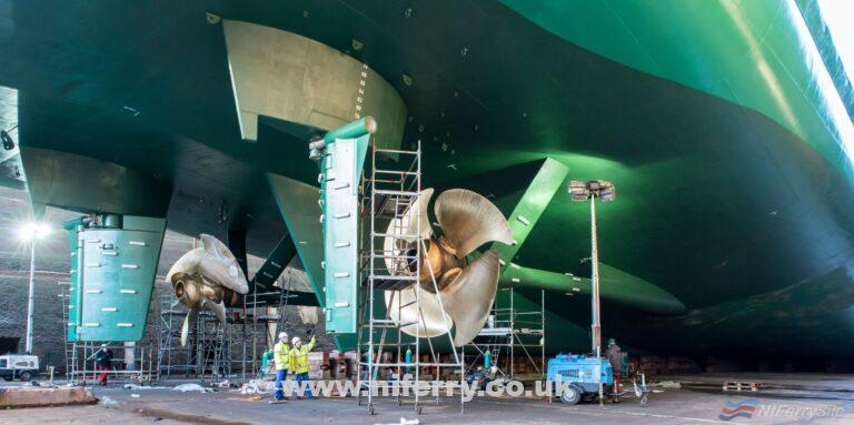 ULYSSES in dry dock at Cammell Laird Birkenhead, 2019. Irish Ferries
