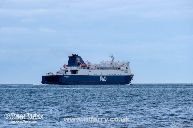 EUROPEAN CAUSEWAY swings towards Loch Ryan at the start of another routine crossing between Larne and Cairnryan, April 2019. Copyright © Steven Tarbox