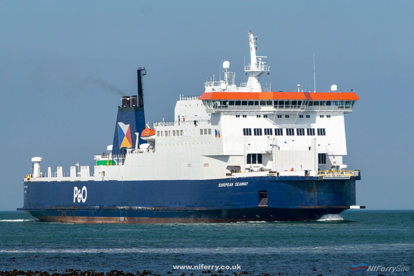 EUROPEAN SEAWAY approaches Larne at the end of her afternoon sailing from Cairnryan. This was her first day of service covering the regular vessels 2019 dry dockings, 16.05.19. Copyright ©Steven Tarbox