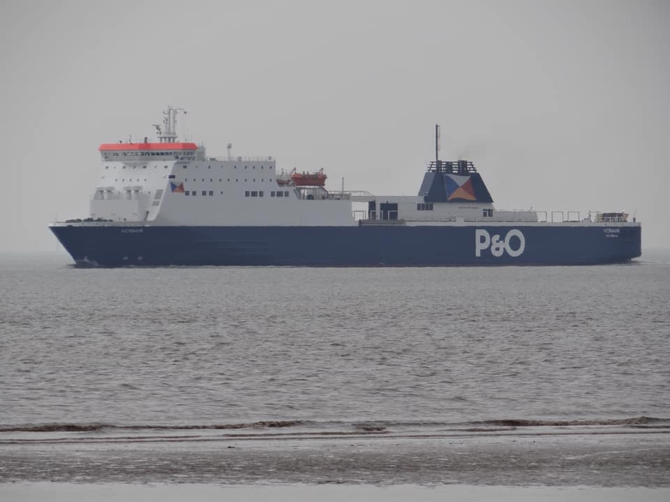 P&O Ferries NORBANK passes Crosby inbound to Liverpool from Gdansk following dry-docking at the Remontowa shipyard, Easter Monday 2019. Copyright © David Faerder.