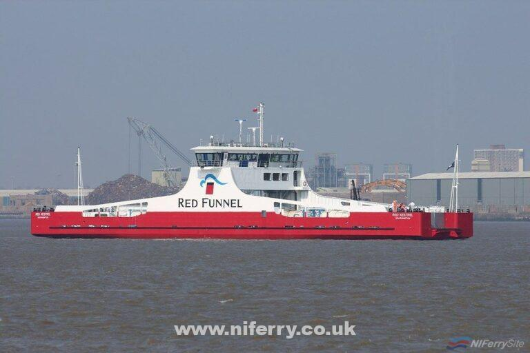 Red Funnel's British-built freight ferry RED KESTREL on trials in the River Mersey on April 8th 2019. Copyright © Das Boot Photography.