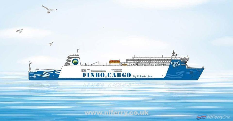 An artist's impression of what EUROPEAN ENDEAVOUR will look like as FINBO CARGO. Eckero Line.