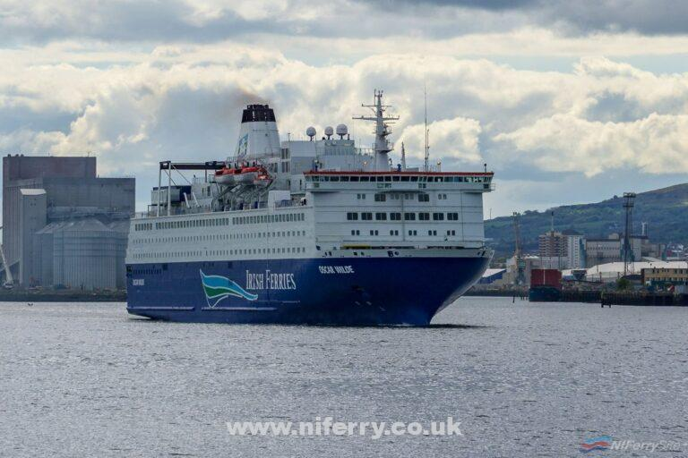 The former Irish Ferries Rosslare to Cherbourg/Roscoff cruiseferry OSCAR WILDE leaves Belfast for a new career with GNV in the Mediterranean. Copyright © Steven Tarbox.