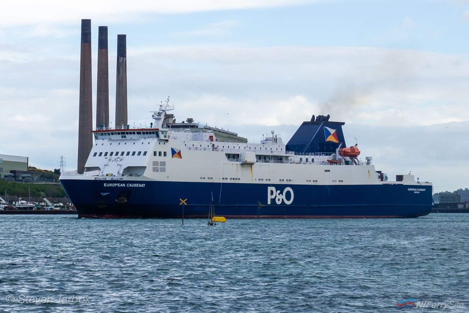 P&O Ferries EUROPEAN CAUSEWAY leaves Larne for Cairnryan on April 25th 2019. Copyright © Steven Tarbox.