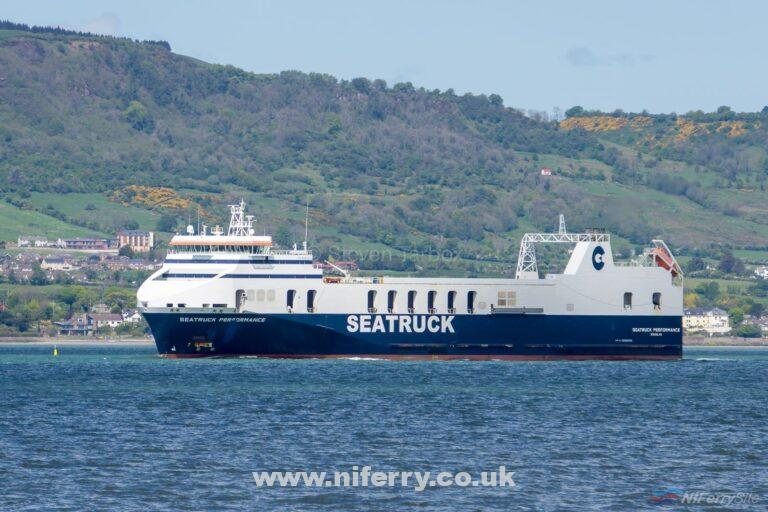 SEATRUCK PERFORMANCE in Belfast Lough on May 11th 2019 on her way to Harland & Wolff for emergency dry docking following an apparent grounding incident in Carlingford Lough a few days earier. Copyright © Steven Tarbox