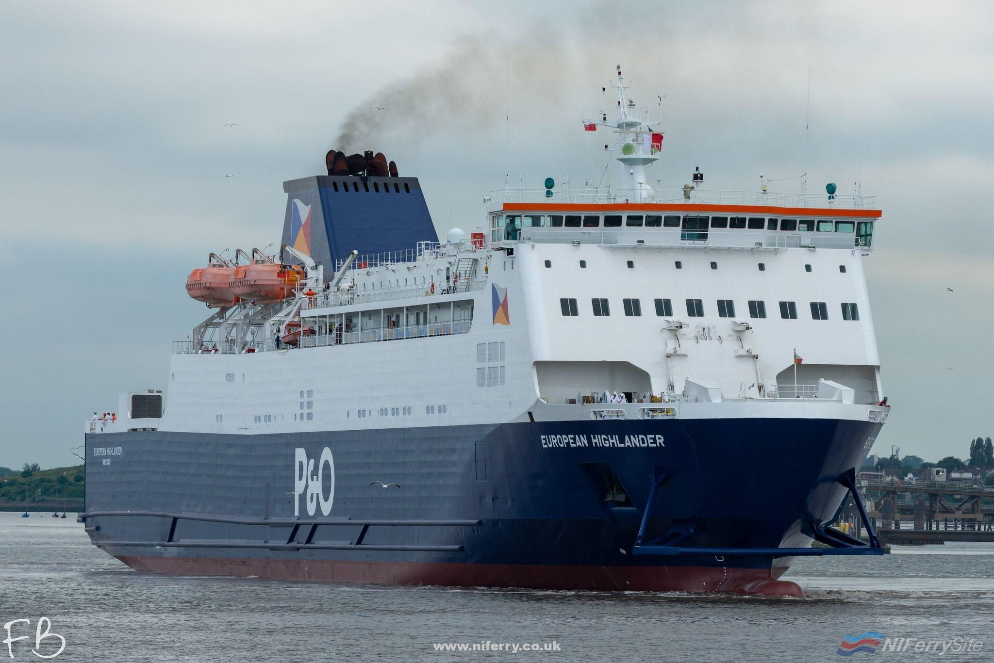 P&O Ferries EUROPEAN HIGHLANDER leaves Cammell Laird Birkenhead for Larne on the afternoon of Tuesday June 25th '19. Copyright © Christopher Triggs.