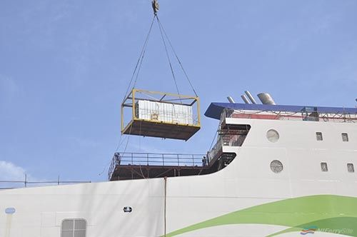 Photo of With all of Stena Estrid's Cabin Units in Place, AVIC Weihai have started to fit Belfast-bound Stena Edda's