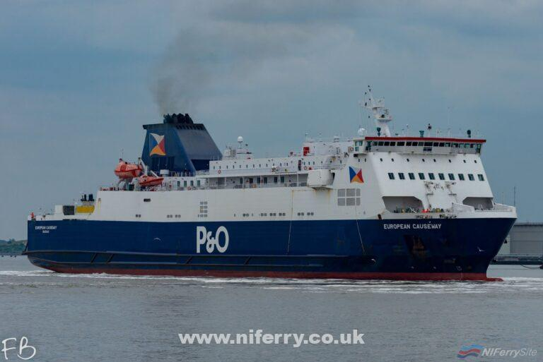 P&O Ferries EUROPEAN CAUSEWAY leaves Cammell Laird on a miserable Monday afternoon, 08.07.19. Copyright © Christopher Triggs.