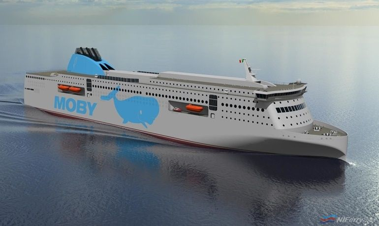 An artists rendering of how the Moby Lines new-builds from GSI might look. © Onorato Armatori.