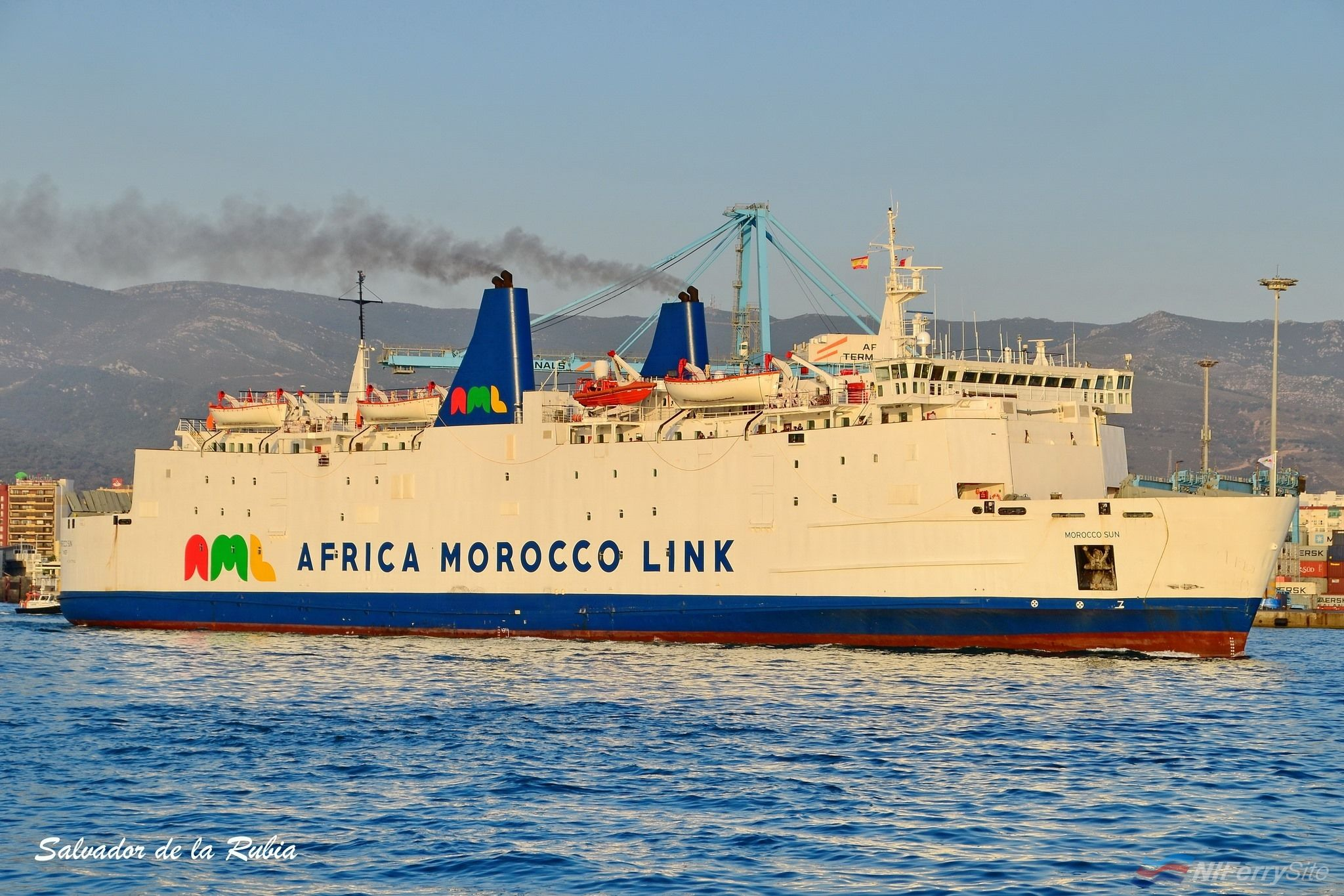 MOROCCO SUN seen in Algeciras on her first day back in service, 03.08.19. The former LE RIF, STENA GALLOWAY, etc had last seen service as an IMTC vessel in 2013. Copyright © Salvador de la Rubia.
