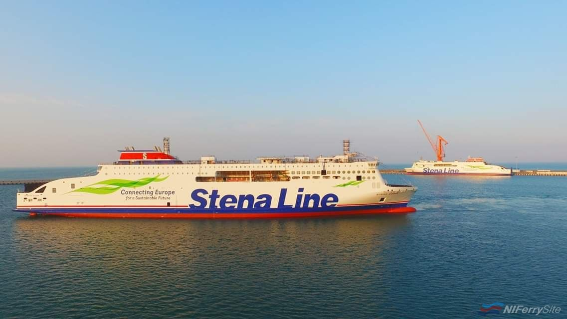 After floating out, STENA EDDA is seen being moved to the outfitting pier at AVIC Weihai. Sister-ship STENA ESTRID can be seen in the background already undergoing outfitting. AVIC Ship.