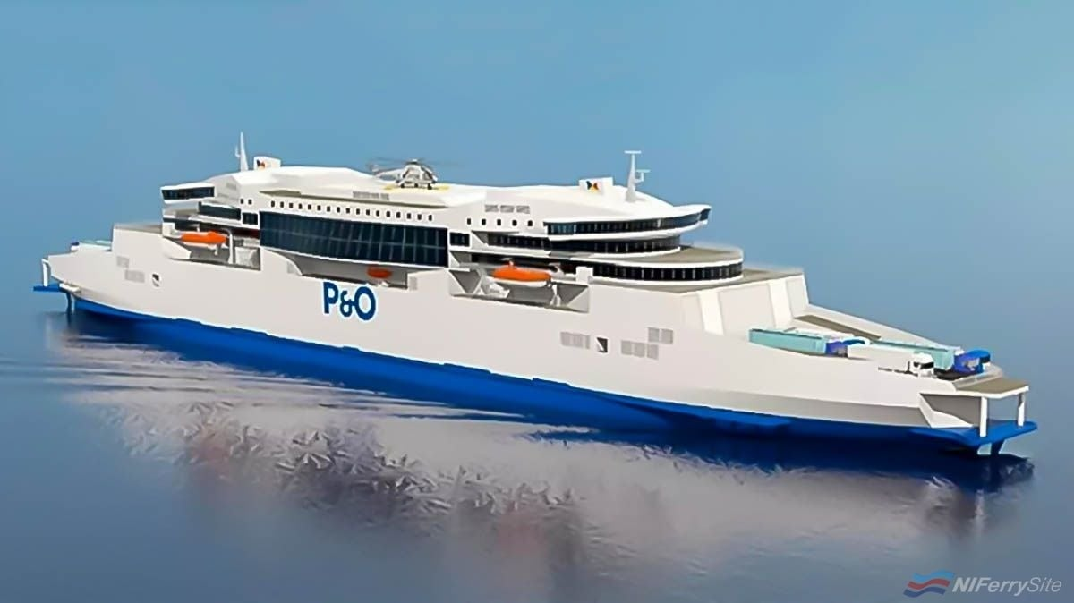 An early artists impression of what P&O Ferries new Double-Ended Dover to Calais ferries to be built at GSI in China might look like. Guangdong Association Shipbuilding Industry. (enlarged)