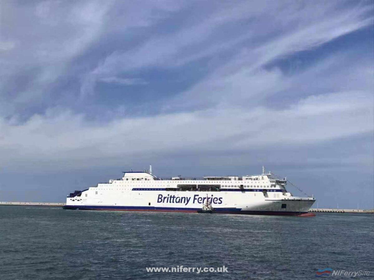 Brittany Ferries GALICIA is manoeuvred to an outfitting quay after leaving her building dock on September 11 2019. Courtesy of Stena RoRo.