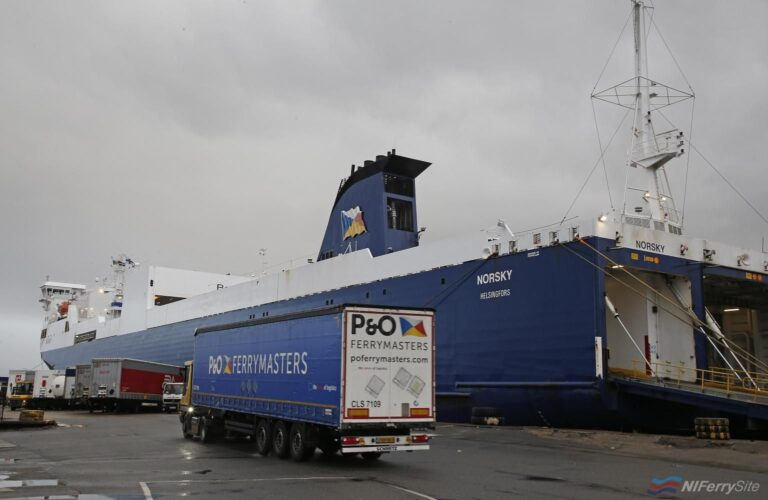 P&O Ferries NORSKY which serves the Tilbury to Zeebrugge route. P&O Ferries