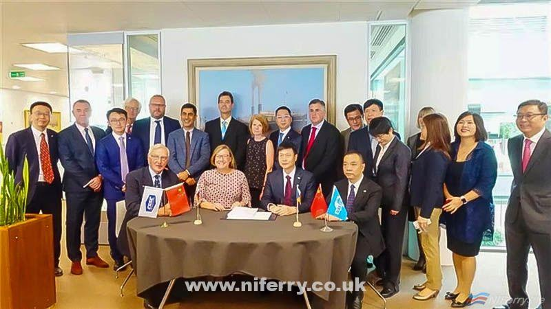 The signing ceremony for P&O Ferries Chinese-built double-ended ferries at P&O Ferries Channel House headquarters in Dover. Guangdong Association Shipbuilding Industry.