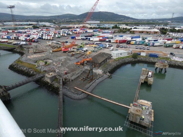A view of some of the work currently underway at Belfast Victoria Terminal 2 to accommodate the new Stena E-Flexer ferries STENA EDDA and STENA EMBLA, 13 September 19. Taken from STENA FORECASTER while alongside at VT1. Copyright © Scott Mackey.