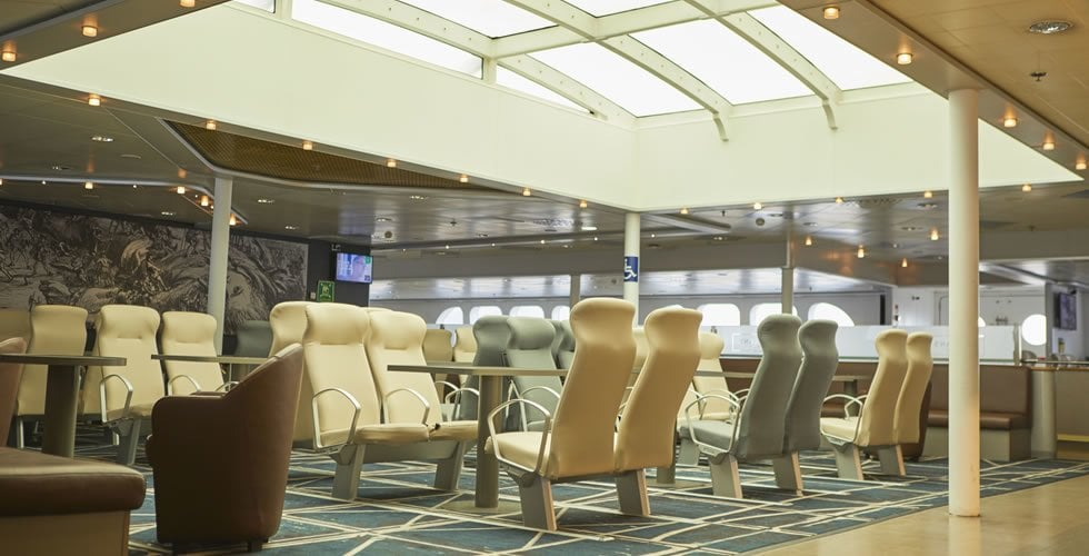 Seating in 'Boylan's Brasserie' onboard Irish Ferries DUBLIN SWIFT. Irish Ferries
