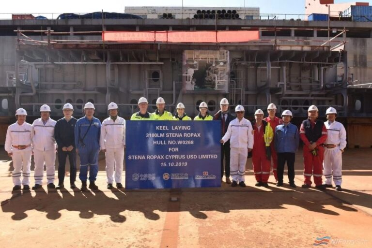 The first keel block of E-Flexer number 5, DFDS' CÔTE D'OPALE is laid at Weihai Shipyard in China, 15.10.19. DFDS