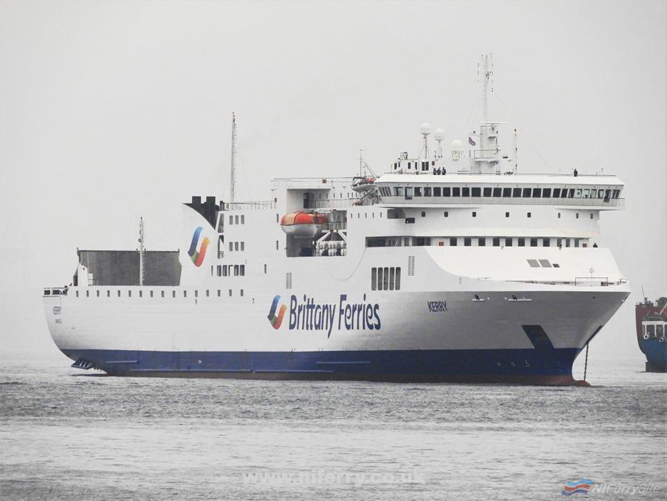 Stena RoRo owned KERRY is seen at Gibraltar in Brittany Ferries colours. She stopped at Gibraltar to take on bunkers while on her way to Santander where she will join the Brittany Ferries fleet. Copyright © Tony Davis.