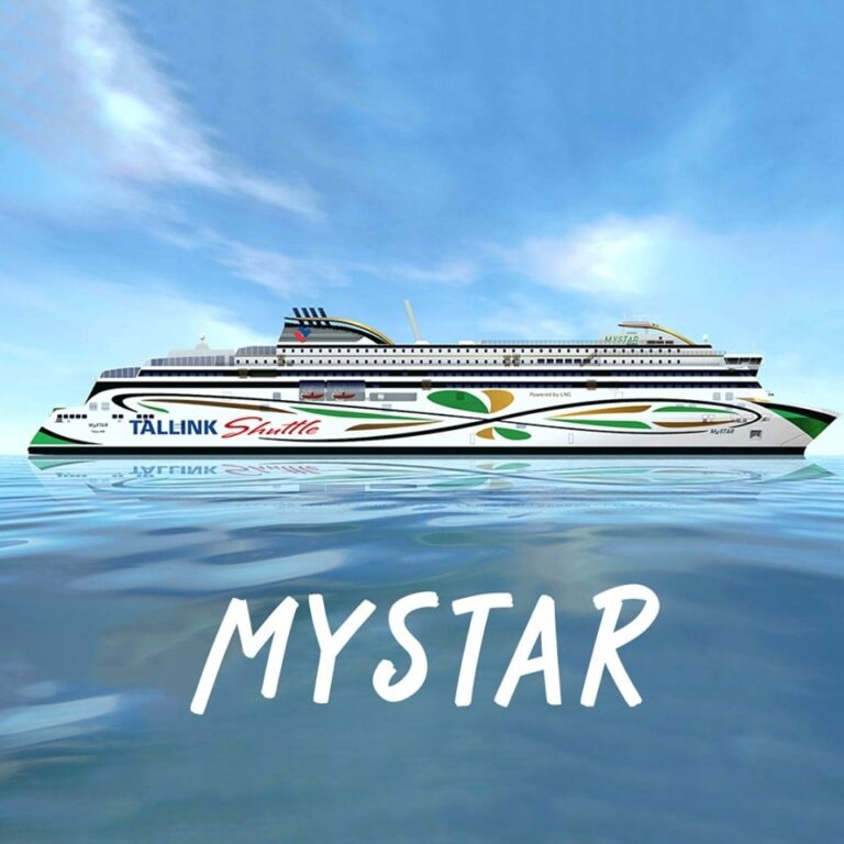"""AS Tallink Grupp image released to announced the selection of the name MYSTAR for their new """"shuttle"""" ferry. AS Tallink Grupp."""