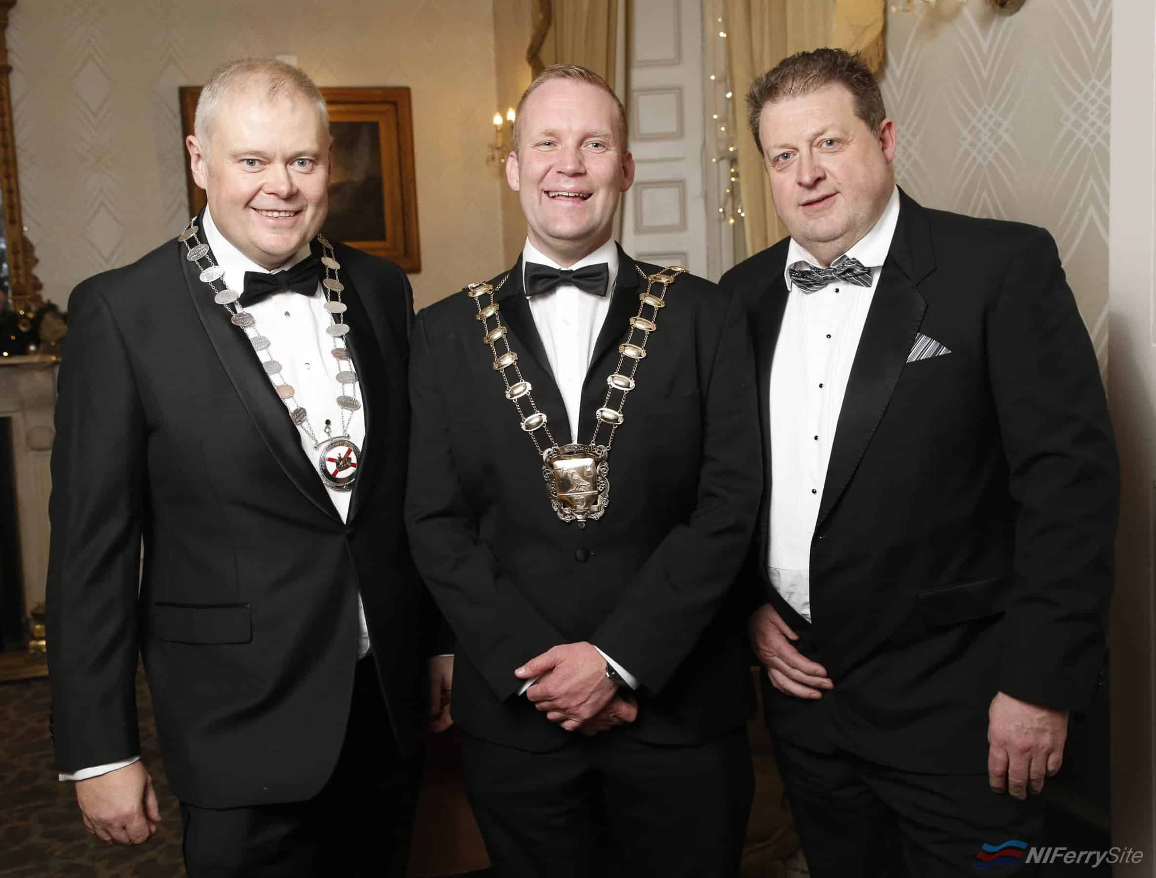 Pictured at the 2019 Marine Ball, organised by the Irish Institute of Master Mariners and the Irish Chamber of Shipping, held in the Grand Hotel, Malahide, Co.Dublin. November 2019 are: Andrew Sheen - Managing Director Irish Ferries, Eoghan O'Brien Mayor Of Fingal, Tony Mulcahy - Deputy President IIMM