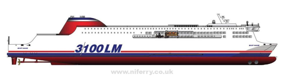 A Knud E. Hansen designed 3100lm Ro-Pax concept design rumoured to have been an alternative Stena E-Flexer proposal. Neither Stena or KEH have ever confirmed this, however the dimensions and capacity do resemble the final E-Flexer design. Knud E. Hansen.
