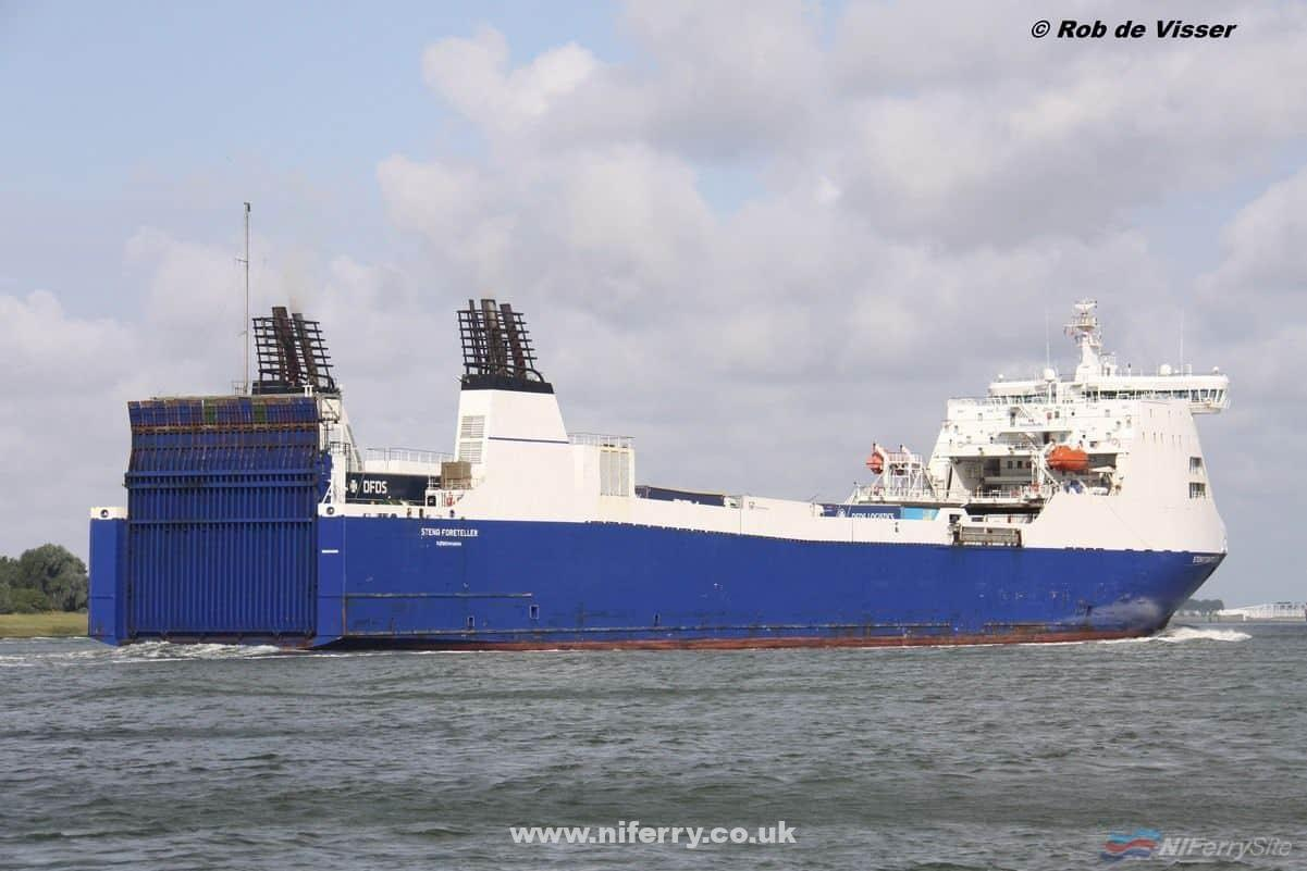 STENA FORETELLER seen after leaving Vlaardingen for Felixstowe on 06.08.19. Copyright © Rob de Visser.