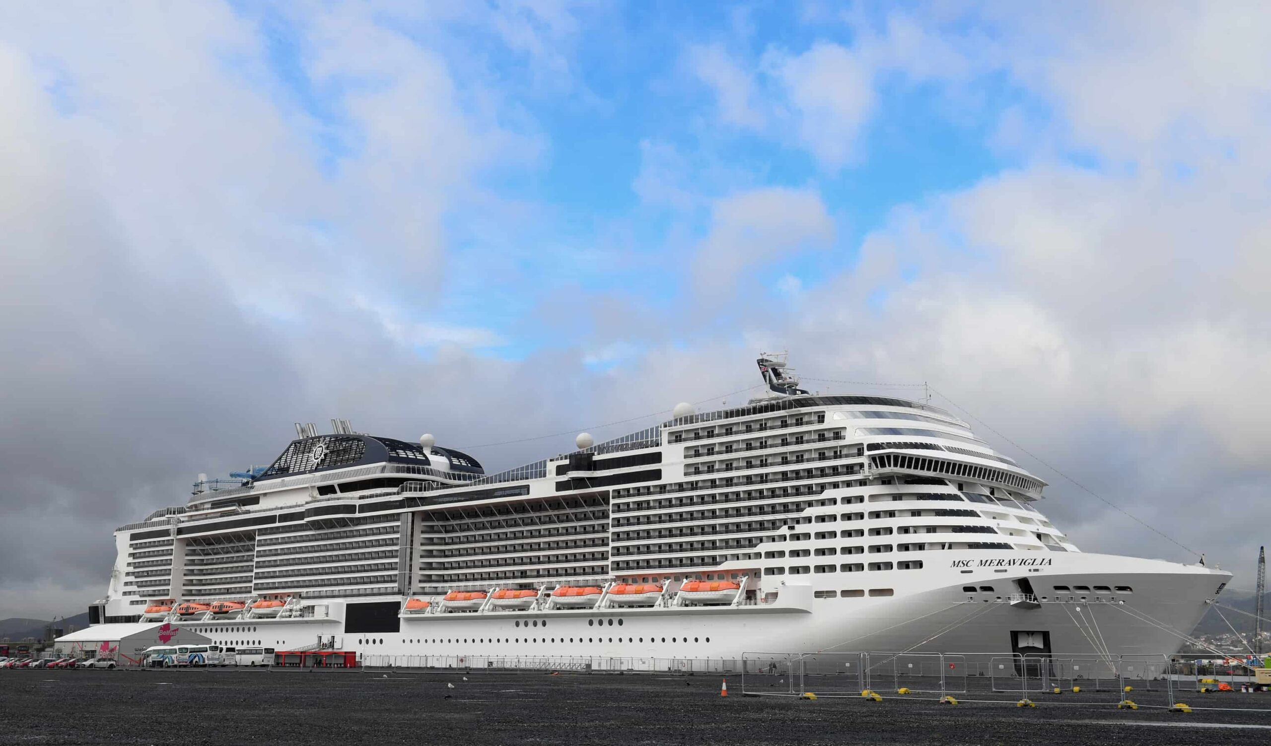 MSC Meraviglia, the largest ever cruise ship to visit Belfast, docking in Belfast Harbour for its maiden call. Alan Lewis- PhotopressBelfast.co.uk 26/9/2019 Photo By Justin Kernoghan.