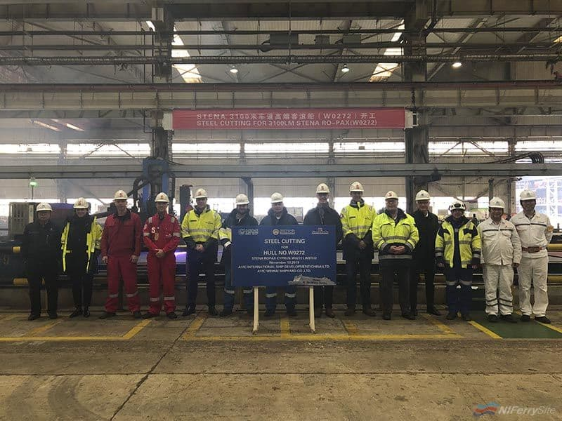 The start of steel cutting for W0272, Brittany Ferries SANTONA, 13.11.19. CMJL (Weihai)