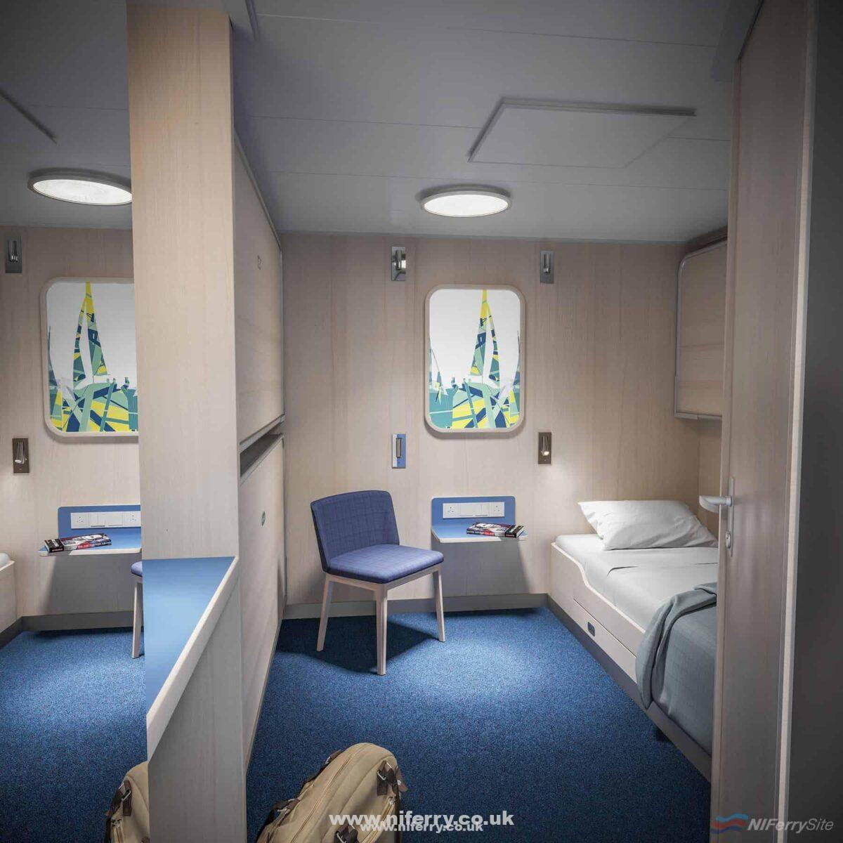 The interior of an inside cabin onboard STENA ESTRID. Stena Line