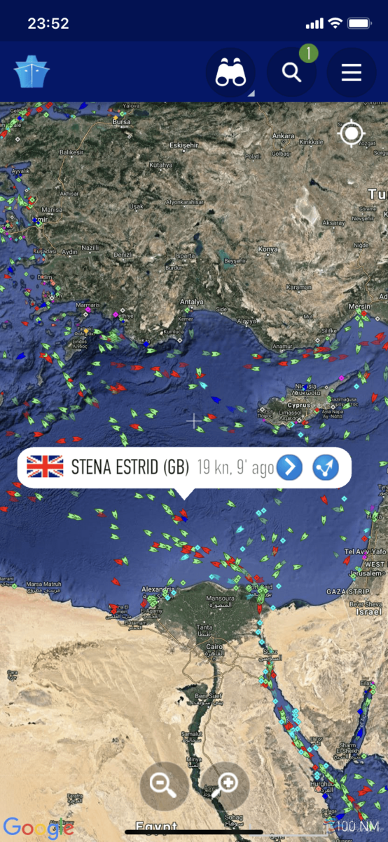 Screenshot from MarineTraffic.com showing the satellite position of Stena Estrid at 23:52 (UK Time) on 13.12.19.
